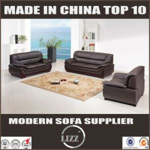 Lizz Furniture Brown Color Leather Sofa with Solid Wood Arms pictures & photos