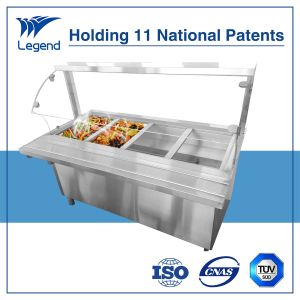 Four Bays Stainless Steel Bain Marie with Top Cover and Cabinet pictures & photos