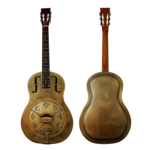 Vintage Golden Colour Brass Metal Body Acoustic Resophonic Guitar for Sale pictures & photos