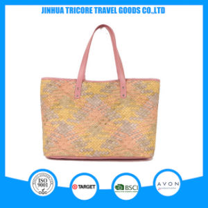 Different Colors Knit PU Printed Tote Bag Beach Bag pictures & photos