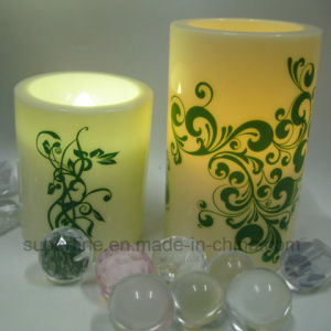Pattern Printed Pillar Plastic Ivory Color Candle with Soft Warm White Flickering LED Lighting pictures & photos