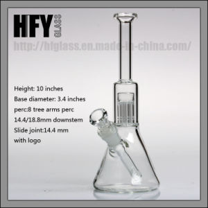 Hfy Glass Hand Blown Hitman Glass Water Pipe for Smoking Beaker 8 Tree Arm Percolator Heady Hookah in Stock Wholesale pictures & photos