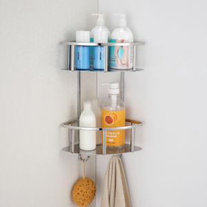 Double Shelf Stainless Steel Bathroom Corner Basket with Hooks (6611) pictures & photos