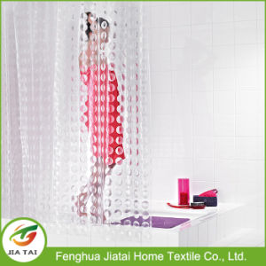 Custom White Clear PEVA Hookless Bath Shower Curtain pictures & photos