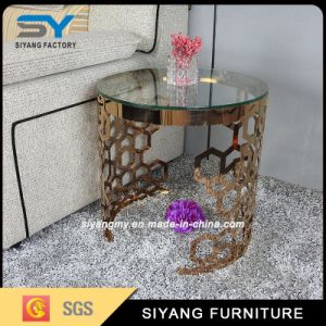 Living Room Furniture Rose Glod Glass Side Table pictures & photos