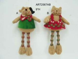 Fleece Christmas Cat and Dog Sitter Gift, 2 Asst pictures & photos