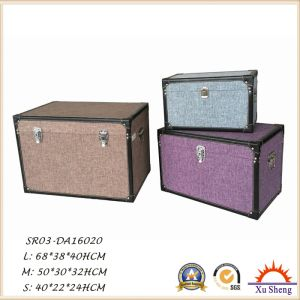 Multi-Color Wooden Decorative Fabric Linen Cloth Cover Storage Trunk S pictures & photos