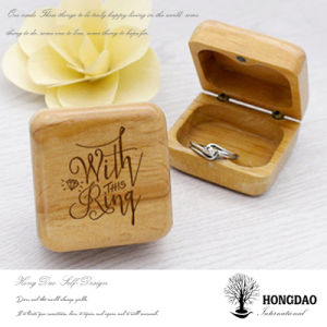 Hongdao Custom Wooden Ring Storage Box with Engraved Logo Wholesale_C pictures & photos