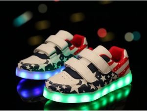 Kids Battery Operated LED Shoes Light with Flag pictures & photos