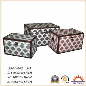 3-PC Home Furniture Stacking Linen Pattern Print Storage Trunk Box pictures & photos