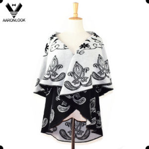 Round Edge Cashew Flower Woven Jacquard Winter Women Poncho pictures & photos