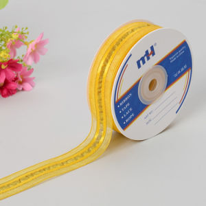 Decorated Sheer Ribbon with Golden Thread pictures & photos