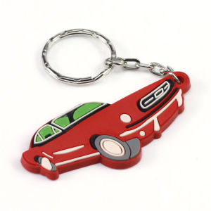 Custom Soft PVC Rubber Car Shape Keyring with Logo Printing pictures & photos