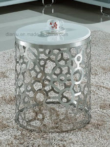 Round Modern White Marble Stainless Steel Furniture Sofa Table (CT033L#) pictures & photos