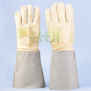 High Quality Industrial Leather Work Glove with Safety Cuff, Leather Glove pictures & photos