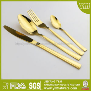 SGS, FDA, LFGB Stainless Steel Dinner Gold Flatware Set