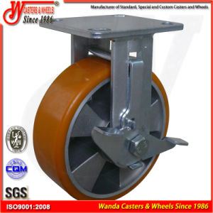 "8"" Side Brake High Quality Industrial PU Wheel Casters pictures & photos"