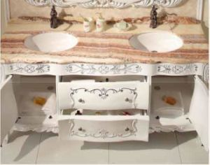 Solid Wood Bathroom Cabinet with Natural Marble Countertop pictures & photos