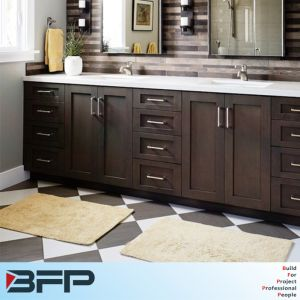 2017 New America Style Sharker Panel Wood Venner Cupboard for Bathroom pictures & photos