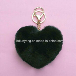 Fox Fur POM Poms Heart Shape Keychain for Decoration pictures & photos