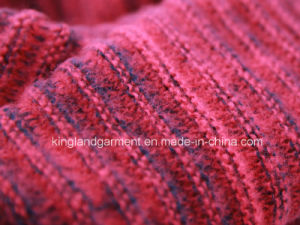 100% Acrylic Mohair Fashion Red & Navy Warp Knitted Neck Scarf pictures & photos
