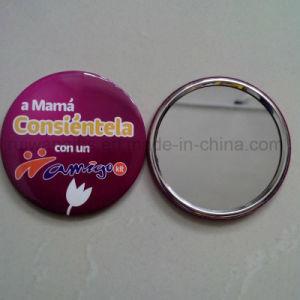 Custom Tinplate Button Badge Mirror, Cheap Souvenir Pocket Mirror pictures & photos