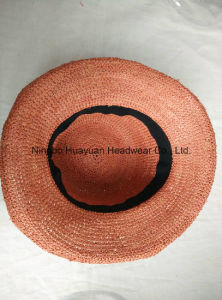 Crocheted Raffia Upturn Dyed Raffia Straw Hat pictures & photos