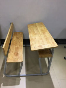 Metal Frame Soild Wood Double Desk and Chair for School pictures & photos