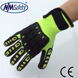 Nmsafety Sandy Nitirle Coated Impact Resistant Automotive Work Glove pictures & photos