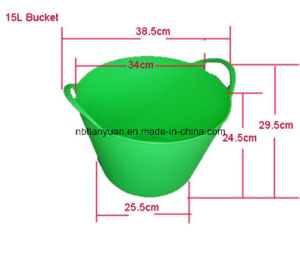 Plastic Bucket, Flexible PE Bucket, Garden Bucket, PE Flexible Bucket with Handle, Pails