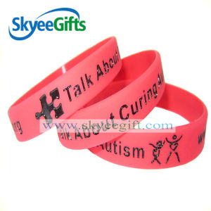 Custom Cheap Silicone Wristbands with Color Ink Filled pictures & photos