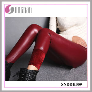 2015 Fashion PU Leather High Waist Pants Thickening Fleece Leggings pictures & photos