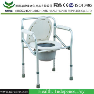 Commode Chair with Height Adjustable Leg Tubes and Castors pictures & photos