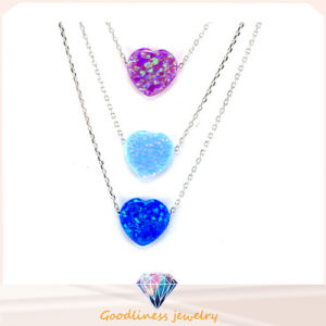 Woman 925 Sterling Silver Heart Shape Opal Necklace Colourful Pendant Jewelry Plated (N6507) pictures & photos