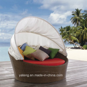 Handmade Small Round Leisrue Outdoor Garden Rattan Lounge with Canopy (YTF058) pictures & photos