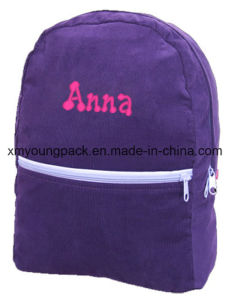 Purple Corduroy Kids Personalized Backpack for School pictures & photos