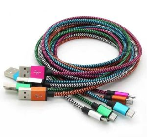 Colorfull Nylon Micro USB Cable Faster Charger and Data Sync Cable for Andriod Mobile pictures & photos