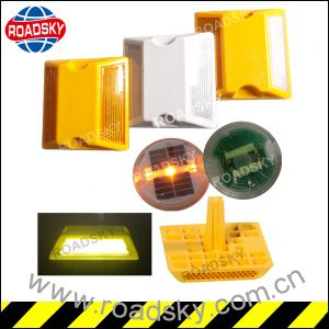 Safety Double Reflective Yellow Light Round Plastic Road Marker Reflector pictures & photos