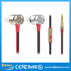 Wholesale Mobile Phone Handsfree MP3 Stereo Metal Silver Gold Earphone with Microphone for iPhone (BE318)
