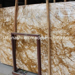 Natural Italy Golden Marble Stone Slab for Countertop, Table Top pictures & photos