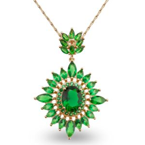 Luxury Green Stone Design Fashion Jewelry Pendant Necklace for Gift pictures & photos