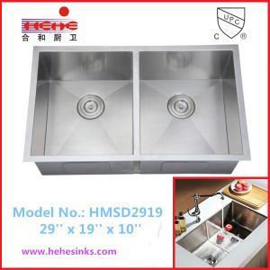 Under Mount Double Bowl Handmade Sink with Cupc Approved, Handcraft Sink (HMSD2919) pictures & photos