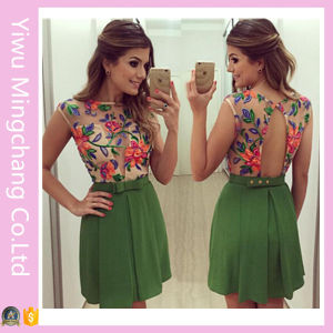 Wholesale Latest Summer Girls′ Sleeveless Printed Floral Short Dress pictures & photos