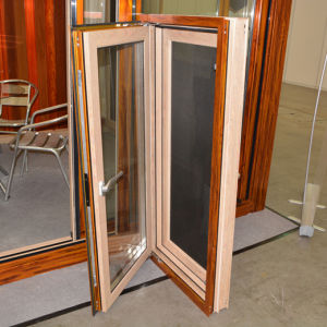 High Quality Colourful Thermal Break Aluminum Wood Casement Window with Multi Lock K03044 pictures & photos