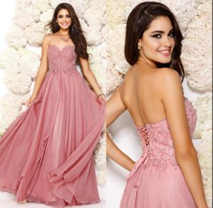 Blush Pink Prom Party Gowns A-Line Chiffon Wedding Evening Dresses E14728 pictures & photos