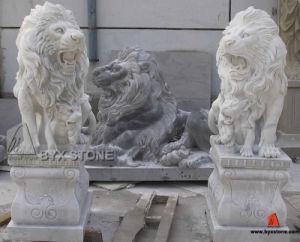 White & Black Marble Animal Stone Garden Lion Sculptures pictures & photos