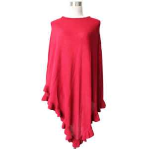 Lady Fashion Acrylic Knitted Ruffle Poncho Shawl (YKY4107-4) pictures & photos