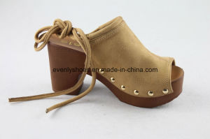 Peep Toe Footwear Sexy Women Shoes with Lace up Design pictures & photos