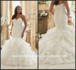 Sweetheart Bridal Gowns Mermaid Ruffles Plus Size Lace Organza Wedding Dress Mrl3201 pictures & photos