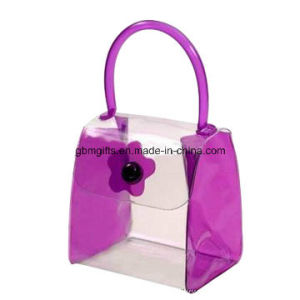 Transparent PVC Bag with Organza Top, Ideal for Holding Cosmetics, Available in Various Colors